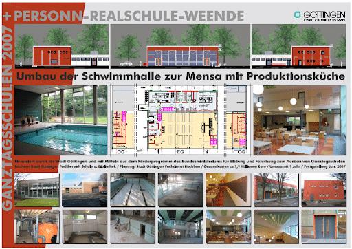 Umbau Lehrschwimmbecken zur Mensa,  Personn-Real-Schule Göttingen-Weende (2006/2007)*
